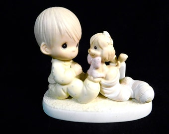 Precious Moments Figurine 109231 - The Greatest Gift Is A Friend, 1987 ~~ Boy With Puppy In Christmas Stocking