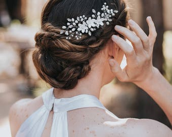 """Beaded Hair Comb, Pearl Hair Accessories, Flower Hair Comb - """"Keira"""" Ceramic White or Ivory Flower Bridal Comb in Silver, Gold or Rose Gold"""