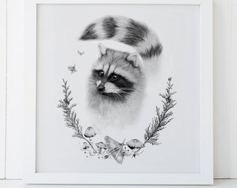 Raccoon Woodland Art Print 12x12