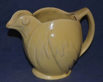 Vintage 40s Unmarked McCoy Pottery Yellow Chicken Pitcher