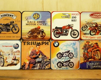 Set of 8 coasters - 95mm Square - Vintage Motorcycles, Vincent, AJS, Ducati, Jawa, Triumph, BMW, Harley