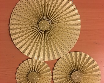 3 cream and gold paper rosette backdrop cream and gold foil paper fan /pinwheel / wedding / birthday / anniversary / baby / wall table decor
