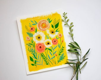 Bright Sunny Yellow Floral Art Print / Wall Art / Home Decor / Hand Painted Flower Design