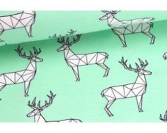 Mint French Terry with geometric deer