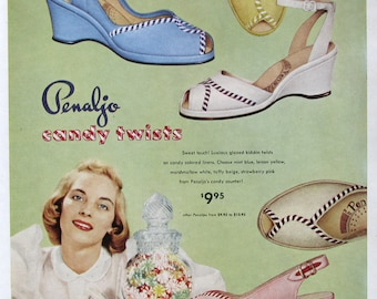 1951 Penaljo Candy Twists Ad - 1950s Peep Toe Sandals Ad - Vintge Footwear Ad