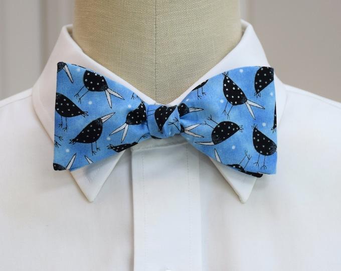 Men's Bow Tie, sky blue with black birds, bird lovers bow tie, blackbirds bow tie, nature lover's bow tie, zoo wedding bow tie, fun bird tie