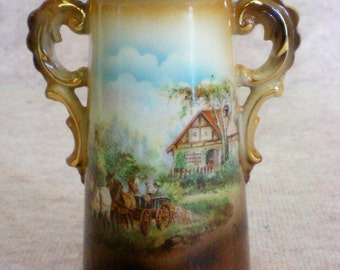 Austria Double Handle Rural Scene Vase - 4679