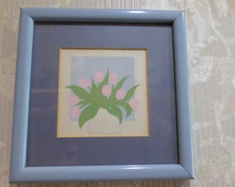 Small Vintage Framed Print Flowers in Windows