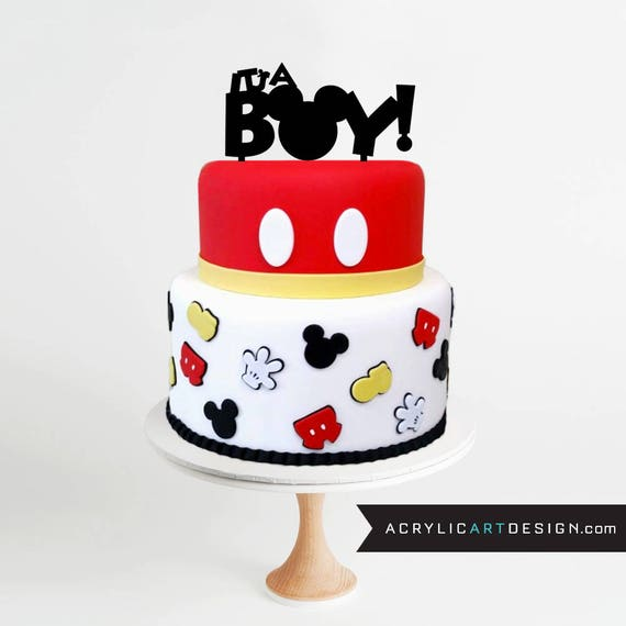 Mickey Mouse Cake Topper   Itu0027s A Boy ! Baby Shower, Mickey Ears, Mickey  Mouse, Personalized, Custom, Acrylic From AcrylicArtDesign On Etsy Studio