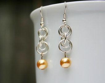 Champagne Pearl Chainmaille Earrings