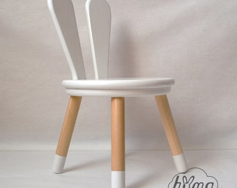 Wooden Kids Chair Bunny / White Gray Brown Color / Kids Furniture / Rabbit  Stool / Bunny Chair / Natural Wood