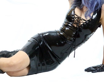 Latex black dress with side and front lacing