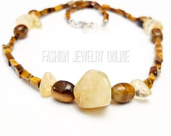 Citrine Tiger eye Gemstone Necklace, Mens Beaded Necklace, Success, Will power, Grounding jewellery, Birthday gift, Gifts for men under 30