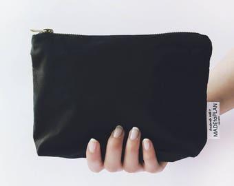 Elegant black, pencil case, cosmetic bag, pencil pouch, zipper pouch, cosmetic pouch, make up bag, pouch, case, cosmetic case, zipper bag