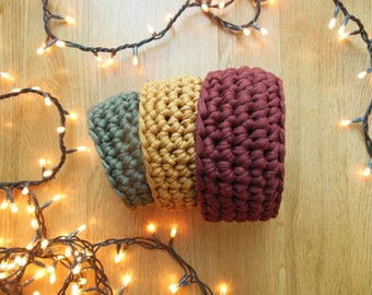Set of three little baskets hand crochetted. Fall colors.Small desk storage solution. Small Christmas gift for friends.Gift set idea.
