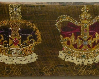 Crowns,  original acrylic painting on reclaimed rustic solid wood board
