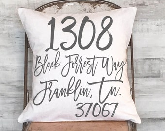 Housewarming Gift Wedding Gift New Home Gift Personalized Address Pillow Cover