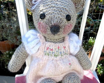 Teddy Bear Doll With Cupcake/ Hand Knit and  Embroidered; One-of-a-Kind, Wearing Hand Knit, Mohair Dress/ Carrie and the Wishing Cake