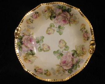 Prussia Hand Painted Large Porcelain Bowl
