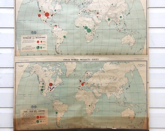 School chart vintage etsy au rare double world vintage school pulldown map print poster chart classroom old cloth canvas wall hanging gumiabroncs Images