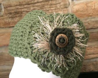Green headband, ladies headband, crochet headband, womens ear warmer, green ear warmer