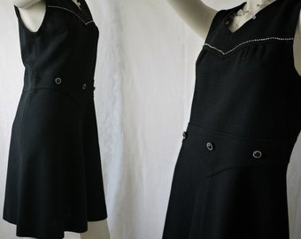 Vintage 70s dress/tailored wool dress/Made in Italy/black dress/A-Line skirt dress/rhinestone/size M L/Size Medium Large