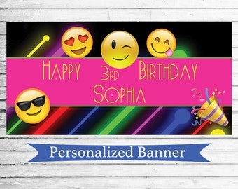 """18""""x36"""" Emoji Theme Indoor Outdoor Personalized Party Banner 