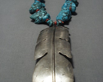 One Of The Biggest Vintage Native American Navajo Sterling Silver Feather Turquoise Necklace