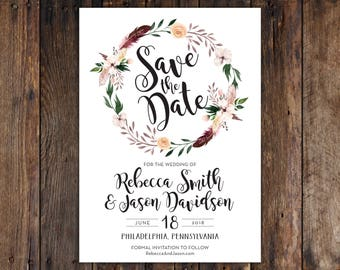 Fall or Winter Burgundy and Peach Flowers with Feathers 5x7 Save the Date Invitation Print at Home DIY Version