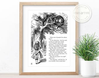 Alice In Wonderland, We're All Mad Here, PRINTABLE Wall Art, Cheshire Cat, Lewis Carroll, Book Literary Quote, Bonkers, Digital Print Design