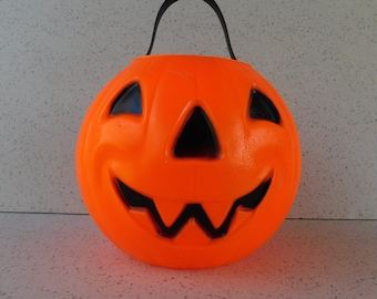 1980 Carolina Jack O'Lantern Halloween Blow Mold, Pumpkin, Candy Bucket, Trick or Treat, Halloween Decoration, Fall or Autumn Decor