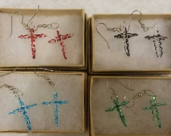 Lace Cross Earrings