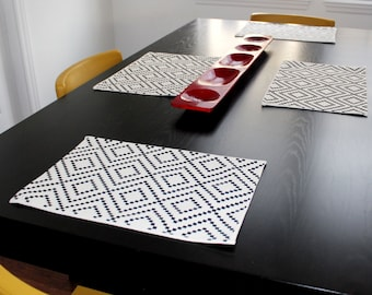 100% Recycled Table Mat. Set x 4 Tribal Design