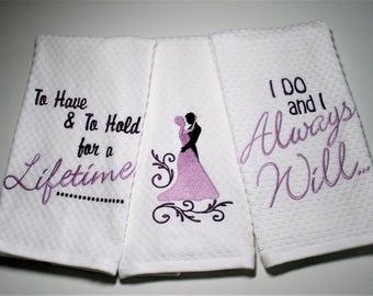 """Wedding Towel, Wedding Gift, Bridal Shower Gift, Wedding Dish Towel, Bridal Hostess, Gift For Bride, Wedding Decor, Kitchen  """"Vows"""""""