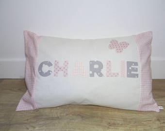 Powder Pink name cushion