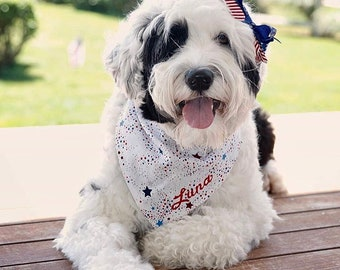 Patriotic Dog Bandana • Personalized Reversible Classic Tie Pet Scarf • The Best  Puppy Dog Gift by Three Spoiled Dogs