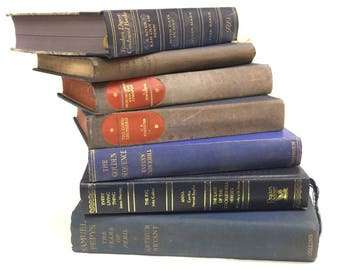 Collection 14 Blue Vintage Old Hardback Books Shabby Chic Pub Weddings Display Props