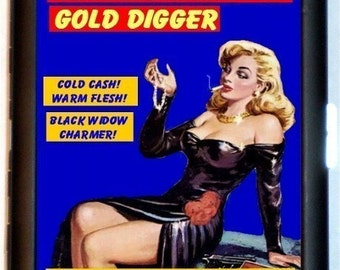 Gold Digger Pin Up Humor Cigarette Case True Confessions Retro Pin-Up Girl Funny ID Business Card Credit Card Holder Wallet
