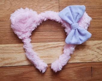 Fuzzy Pink Bear Ears Headband with Lavender Bow - Sweet Lolita Accessory