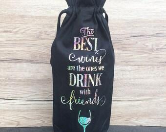 Friend Wine Bottle Bag, Wine Gift Bag, Friend Wine, Friend Gift, UK