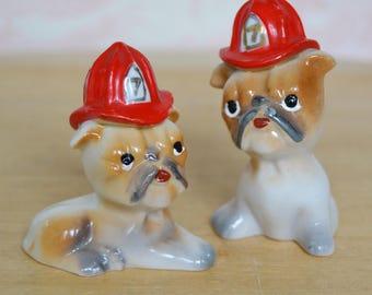Vintage Pair of Bulldog Figurines Wearing Number 7 Firefighter Helmets Made in Japan