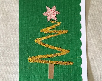 Christmas Tree Card Glittery Gold
