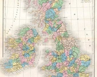 MP10 Vintage 1878 Map Of British Isles Britain Poster Re-Print Wall Decor A2/A3