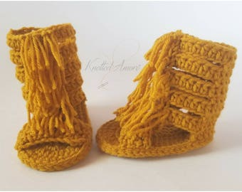 Crochet baby sandals,baby gladiator sandals, fringe sandals, booties, slippers, gift for baby