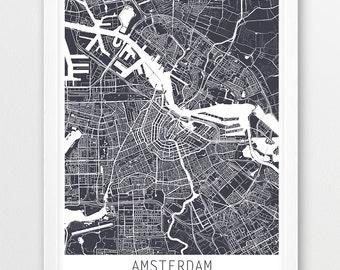 Amsterdam City Urban Map Poster, Amsterdam Street Map Print, Grey Amsterdam Netherlands, Modern Wall Art Home Office Decor, Printable Art