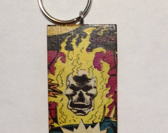 Ghost Rider | Keychain or Pendant | Upcycled | Geekery | Inner Geek | Nerd | Jewelry | Comic Book | Gift | Comic Collector | One of a Kind