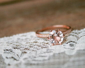 Rose Gold Morganite Engagement Ring, Rose Gold Morganite Ring, Morganite, Engagement Ring, Morganite, Rose Gold Ring