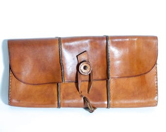 Genuine leather clutch bag, woman clutch leather, brown leather clutch, boho purse, boho clutch, vintage leather clutch, leather bag