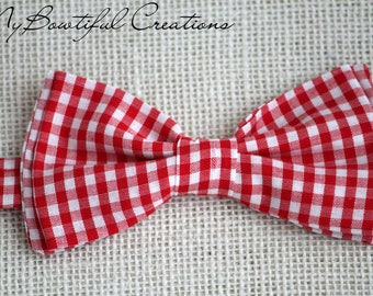 Plaid red bow tie, kids bow tie, mens bow tie, fathers day, gift for him, baby boy bow tie, ring bearer bow tie