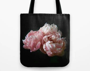 Pink Peonies Tote Bag, Large 18x18 Tote, Floral Market Bag, Book Bags for Women, Gifts for Her, Gifts for Mom,